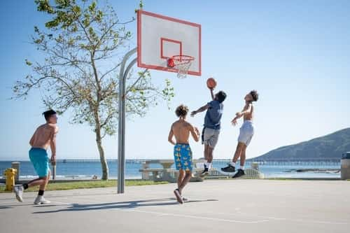 basketball game outide halfcourt