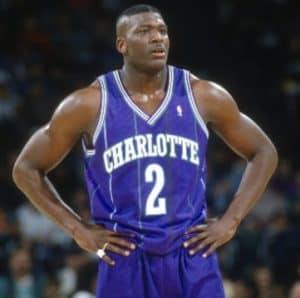 Larry Johnson in Charlotte Hornets uniform