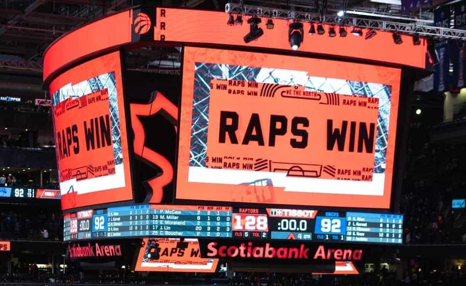 Toronto Raptors Score board in arena.