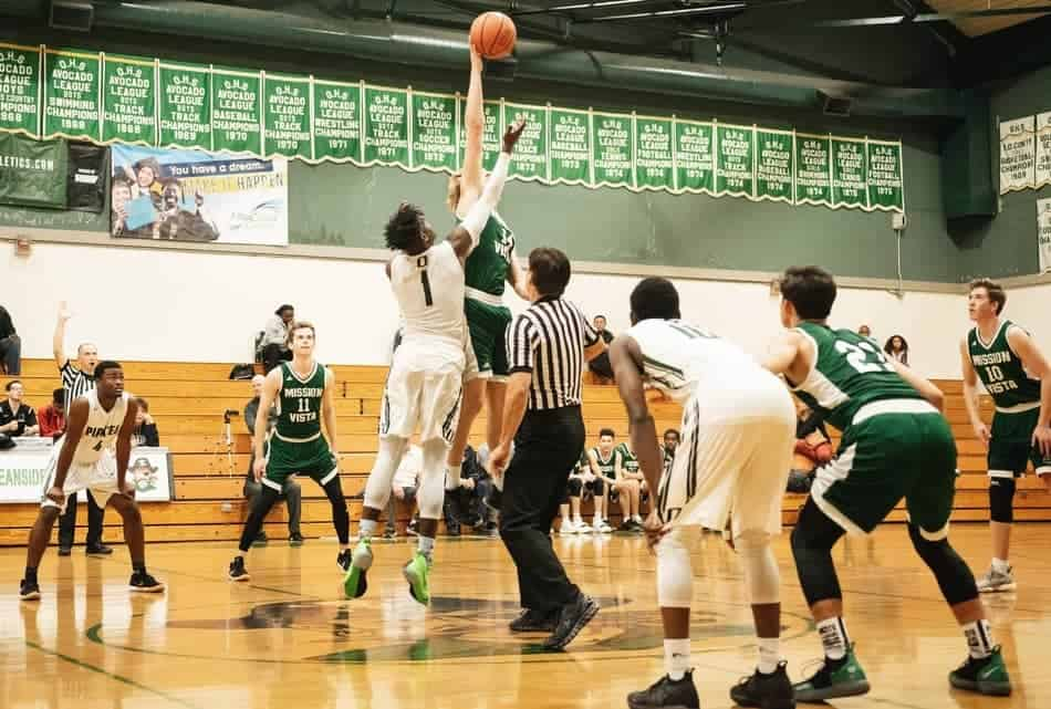Jump ball in basketball game.